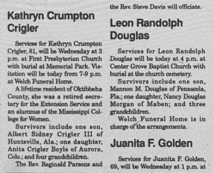 November 13, 1990 - Kathryn Crigler's Obituary