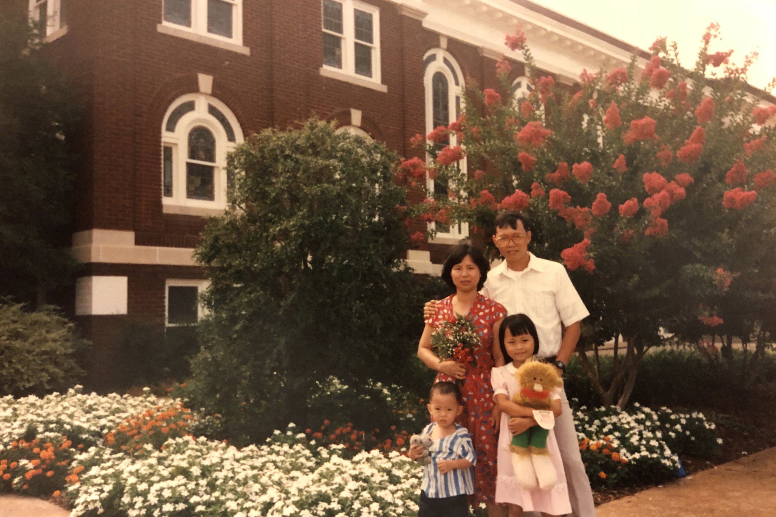 The Hong Family outside of First Presbyterian Church