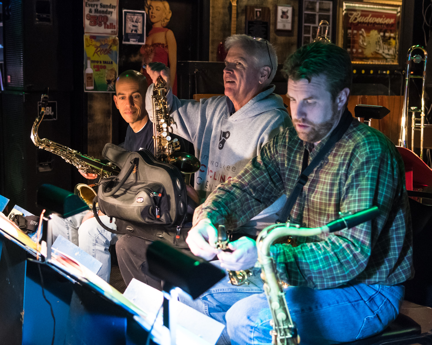 Saxophonists Jordan Gardina, from left, Steve Jacob, and Garrett Kornman of The Parkside Reunion Big Band's performance Tuesday night. The band performs 8-10 p.m. on the first and third Tuesdays of every month at McAuliffe's Pub.