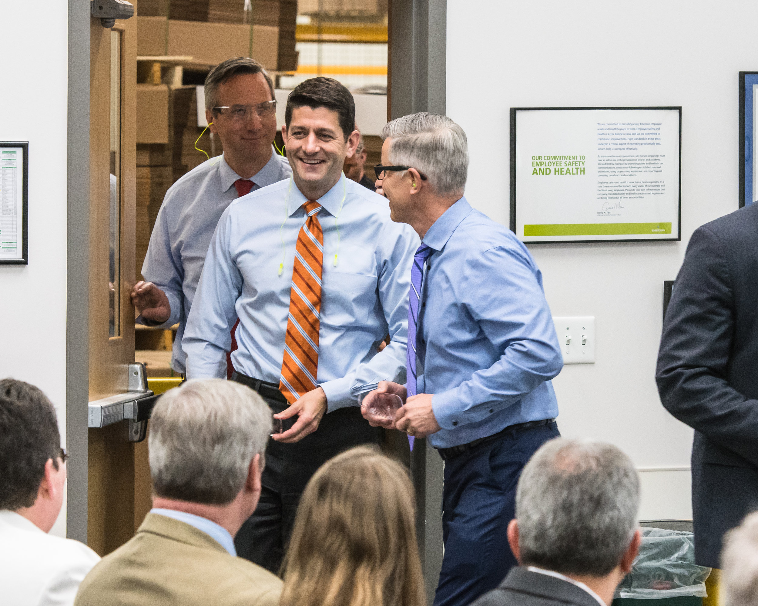 Congressman and House Speaker Paul Ryan arrives at Emerson and InSinkErator's news conference to update plans for InSinkErator's new headquarters and facility in Racine Thursday morning.