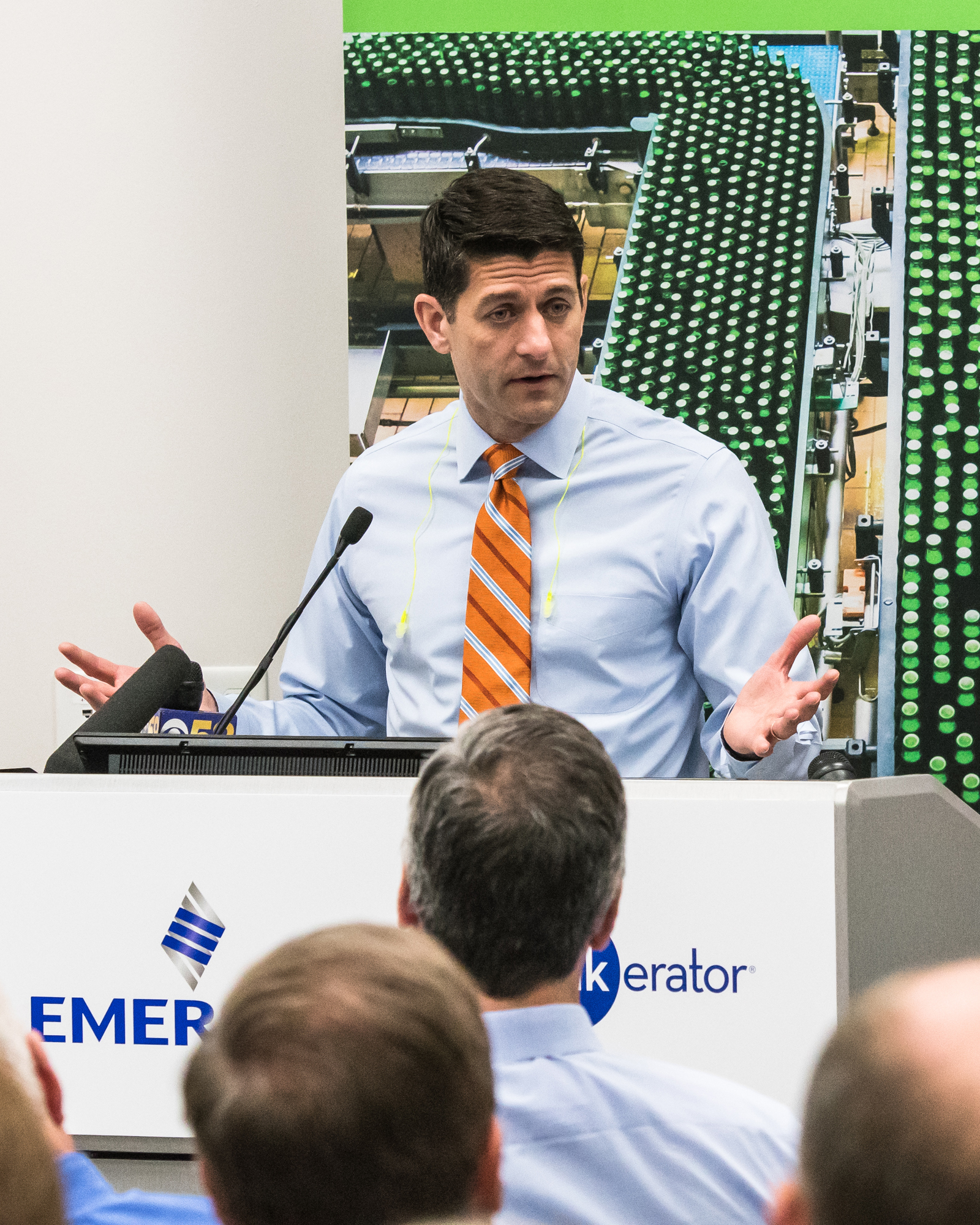 Congressman and House Speaker Paul Ryan speaks Thursday morning during InSinkErator's news conference to update plans for the company's new headquarters and facility.