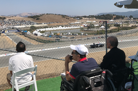 Franklin and Ernest (left to right in wheelchairs)watching the 1958-1960 Formula Junior Race