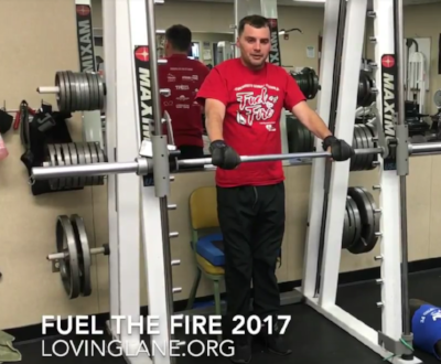 Lane Edwards standing independently during one of his squatting exercises  (Click to see the video)