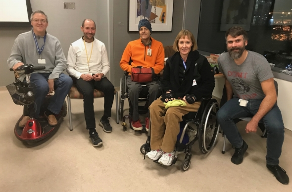 The SCI Peer Support Group members at the very first meeting in the Sobrato Pavilion (from left to right): Kevin, Nick, Rich, Cindy and James