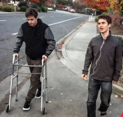 Will walking with his brother Jordan