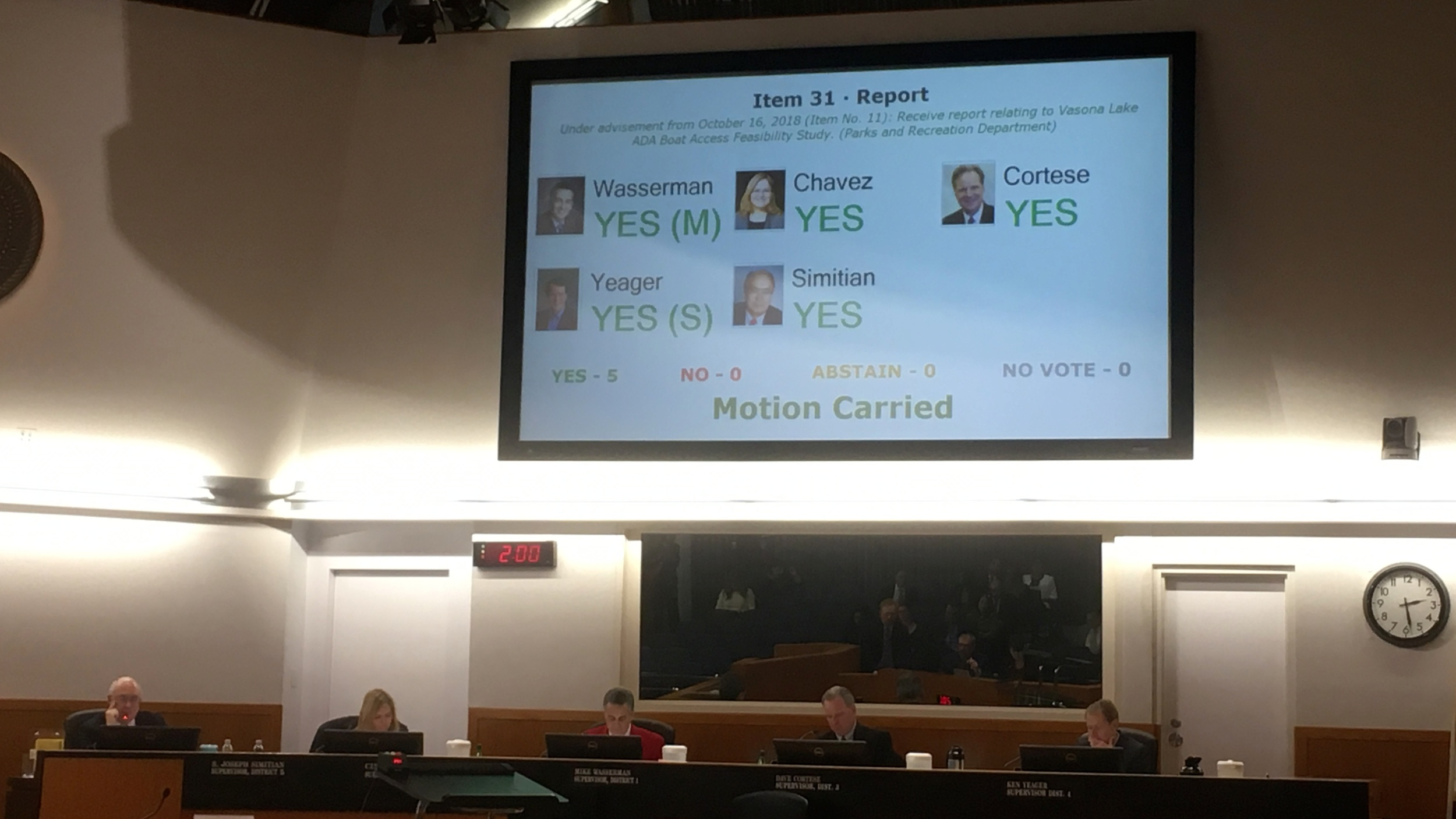 The monitor hanging over the Supervisors reflects the unanimous support the boating center upgrade received
