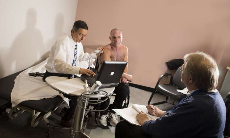 A wheelchair user with spinal cord injury undergoes followup examination for intervention for shoulder pain at Kessler by Drs. Malanga and Dyson-Hudson.
