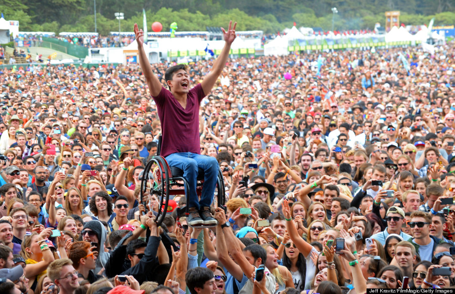 Perhaps one way to get accessible seat is to buy general admission and crowd-surf your way.