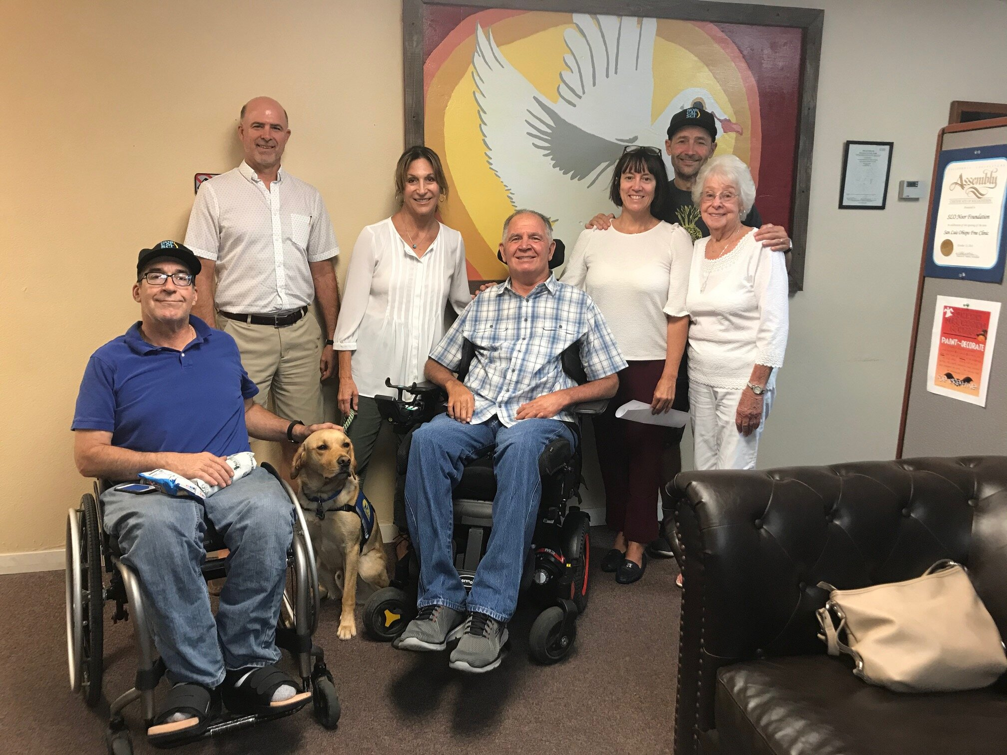 From left to right: Carl McGrew, Kyle Smith, Carole Adler Hughes, Michael Ward, Rebecca Hummel-Moore, Mae MacDonald and Nick Struthers.