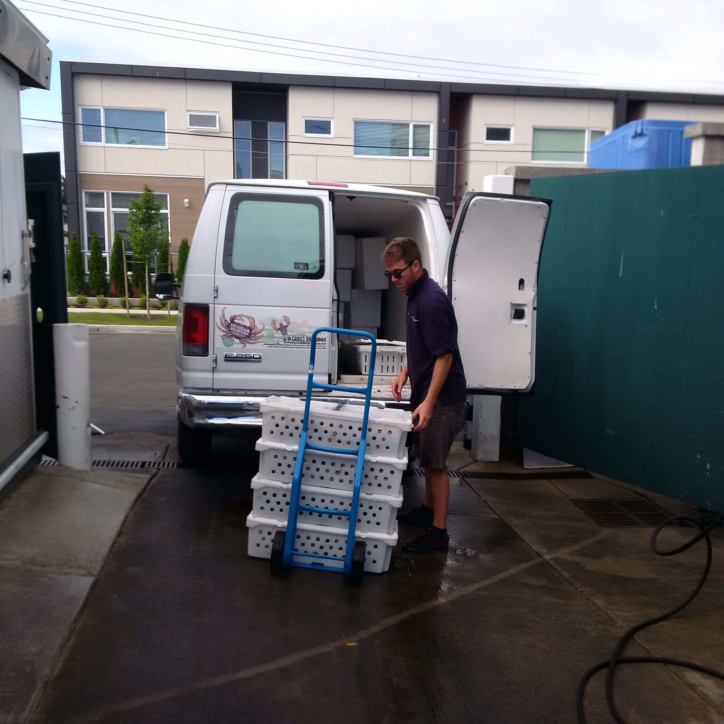 Loading the truck (aka, the Crab Cab) for delivery work in the southern Vancouver Island area.