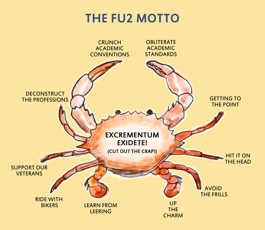 Lifted from ABOUT CRABS 2.0. The Fisheries University (F.U.) official crest. Latin at its finest.