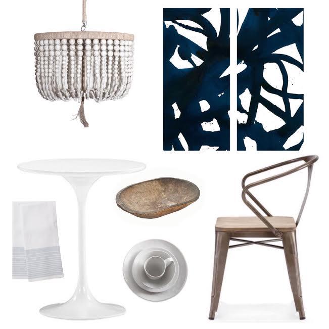 ECLECTIC BREAKFAST NOOK   Chandelier >> Artwork >> Table >> Chair >> Doug Bowl >> Dishware >> Tea Towel  