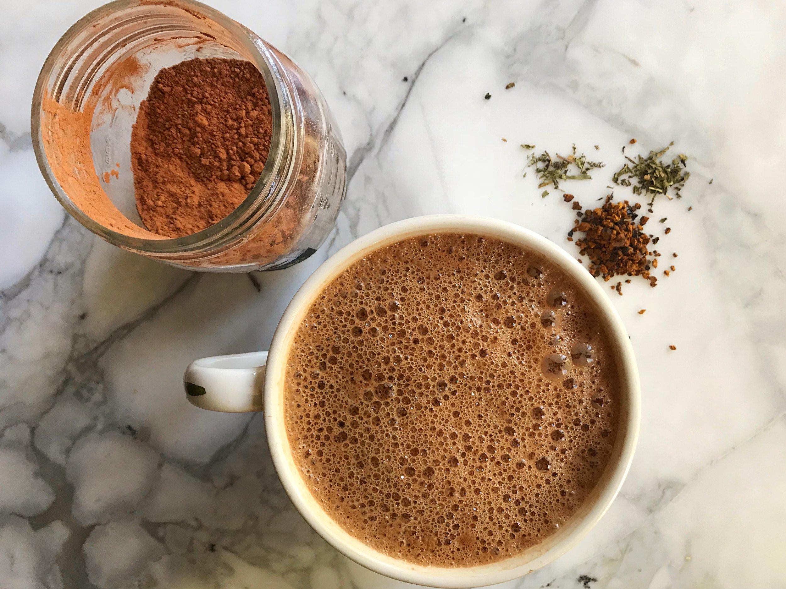 Peppermint Hot Chaga-latte Recipe using Chaga Mushrooms - by Wild Sun Wellness, Adaptogenic Herbal Blends