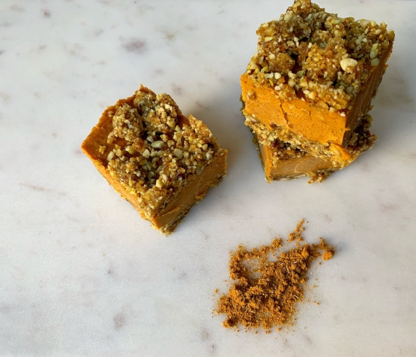 Pumpkin Spice Energy Squares Recipe using Golden Milk by Wild Sun Wellness, a Tumeric Golden Milk Herbal Blend