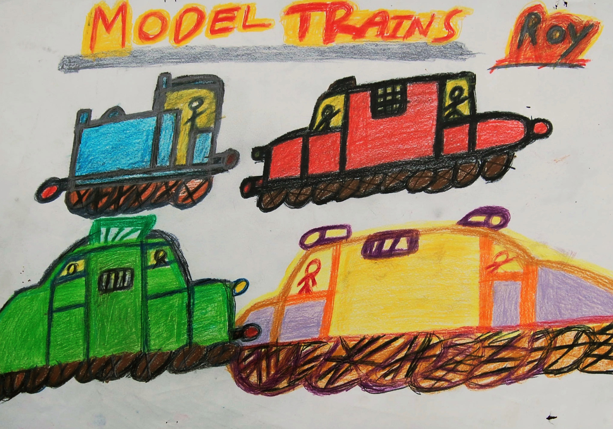 Untitled (Model Trains) Pencil crayon on paper 59x42cm