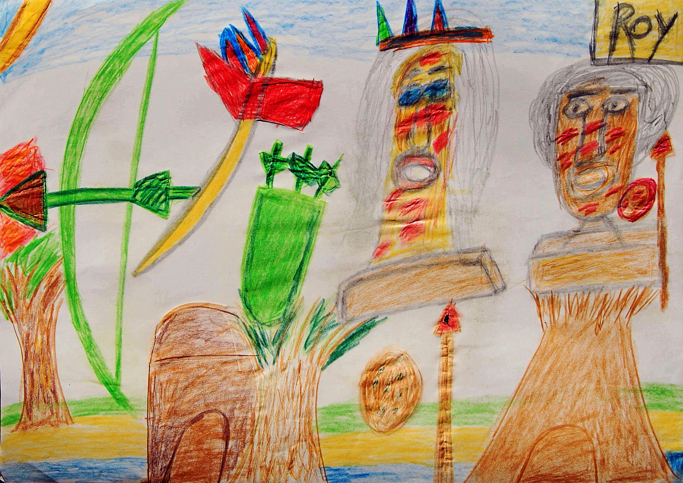 Untitled (Indians with bow and arrows) Pencil crayon on paper 59x42cm