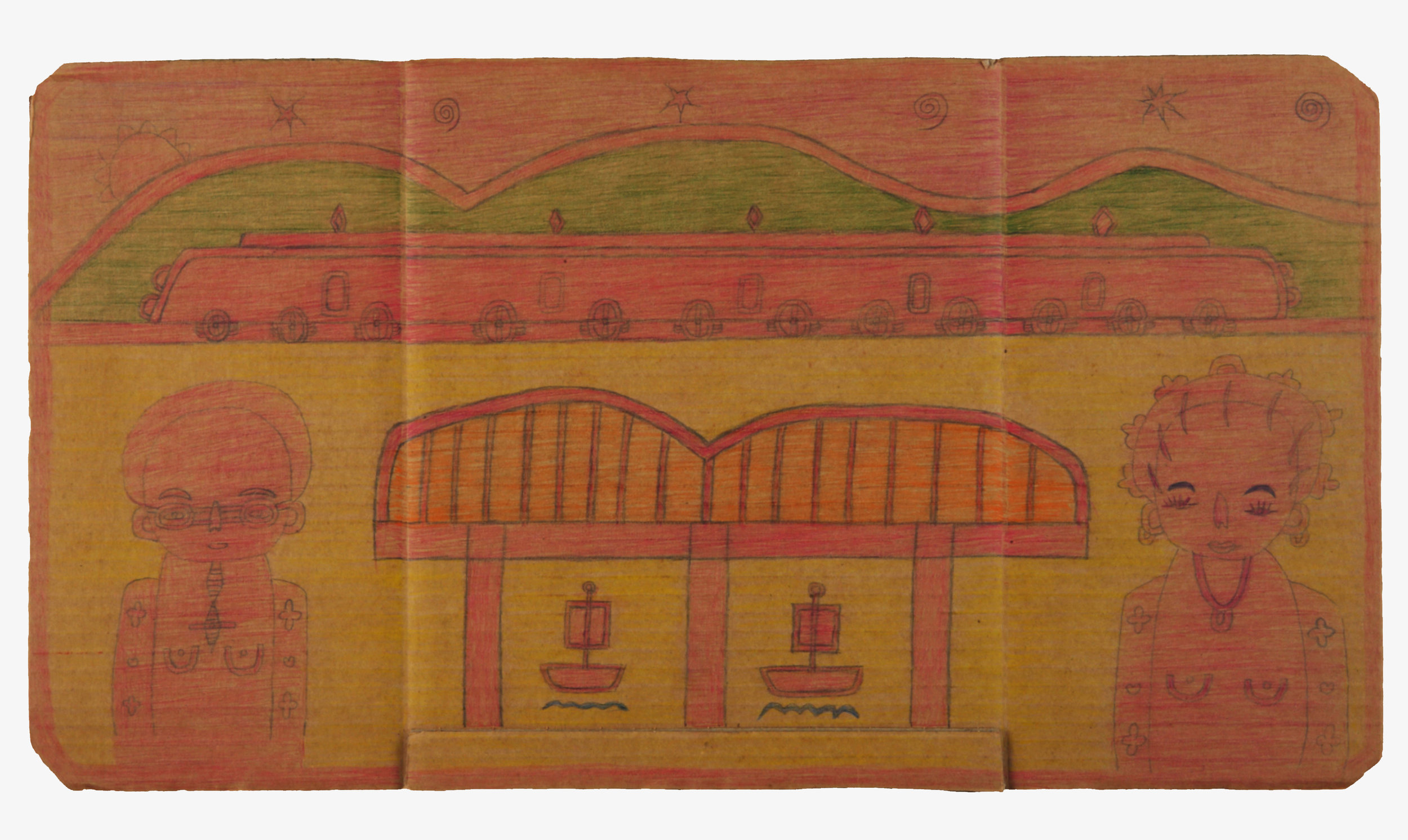 Untitled (15) Pencil crayon on cardboard 63x34cm
