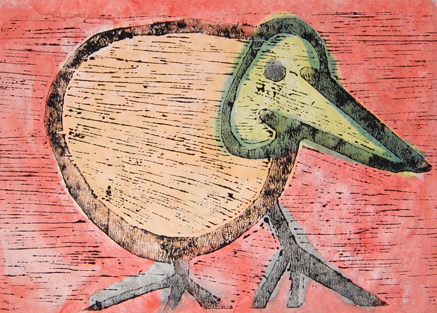Untitled (37) - Kiwi Bird Woodcut with hand colouring 25x16cm