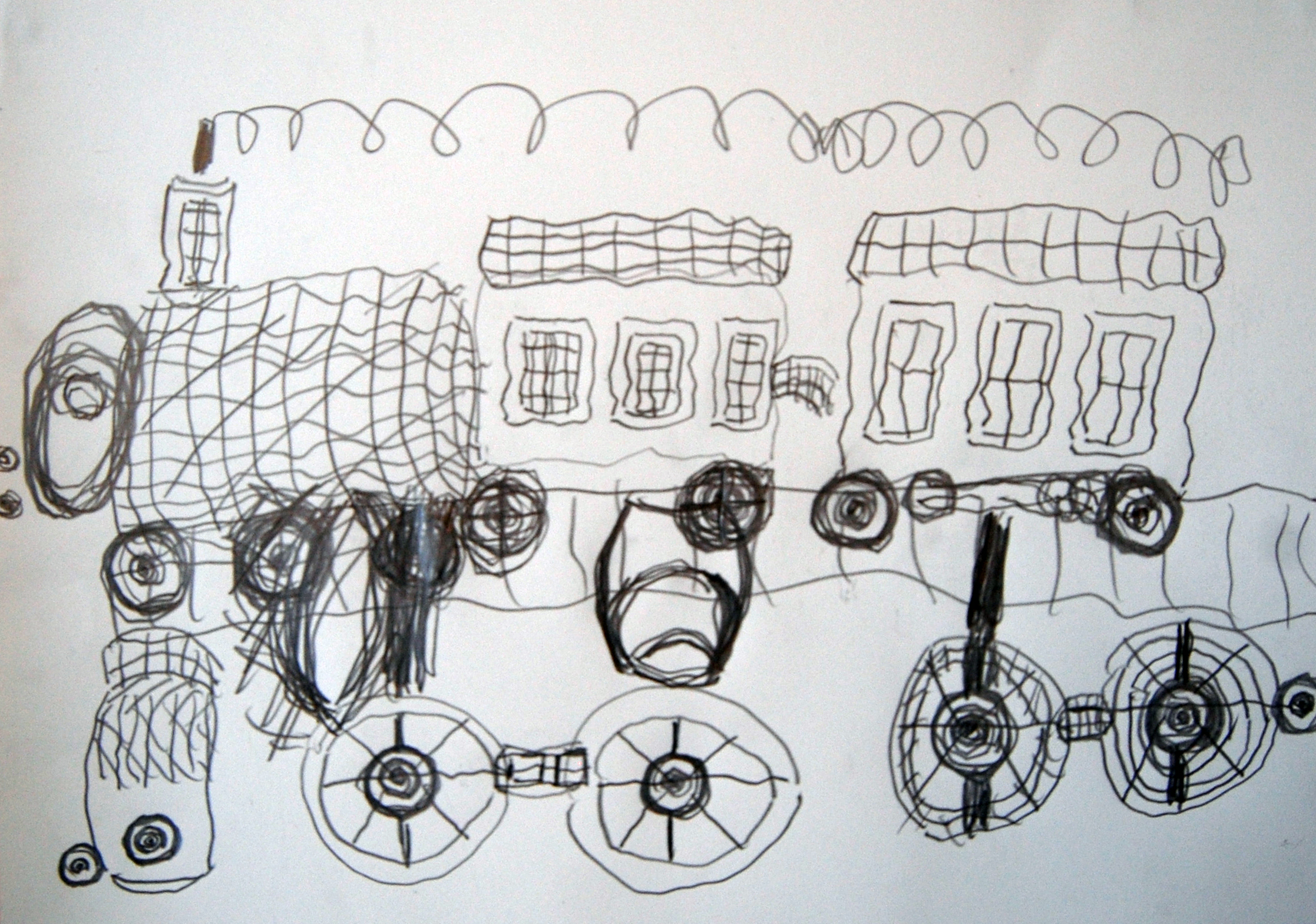 Lokomotive mit Waggons, 2004-2006 Pencil on paper 42x30cm