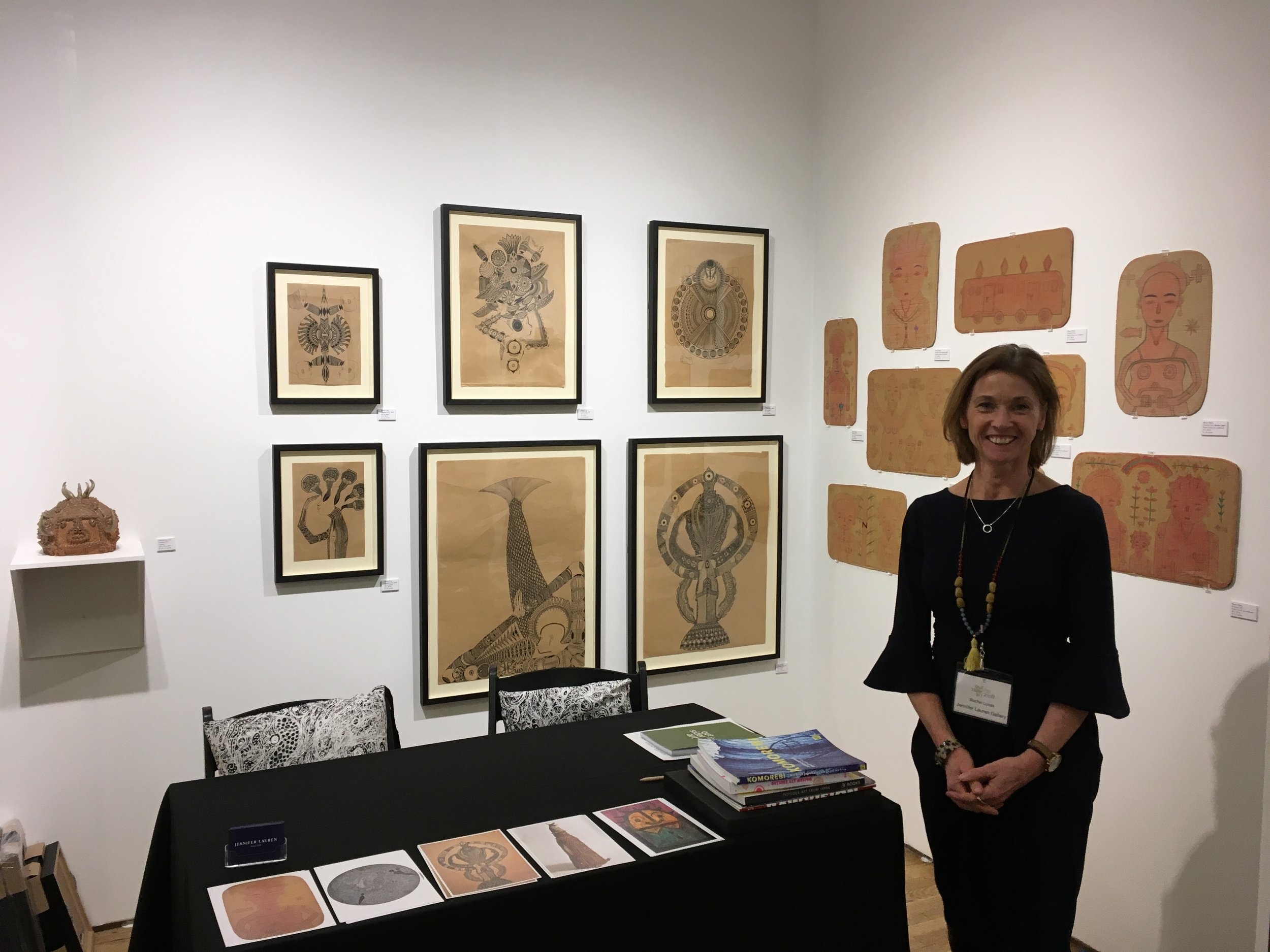 Rachel ready to welcome people to the Outsider Art Fair New York