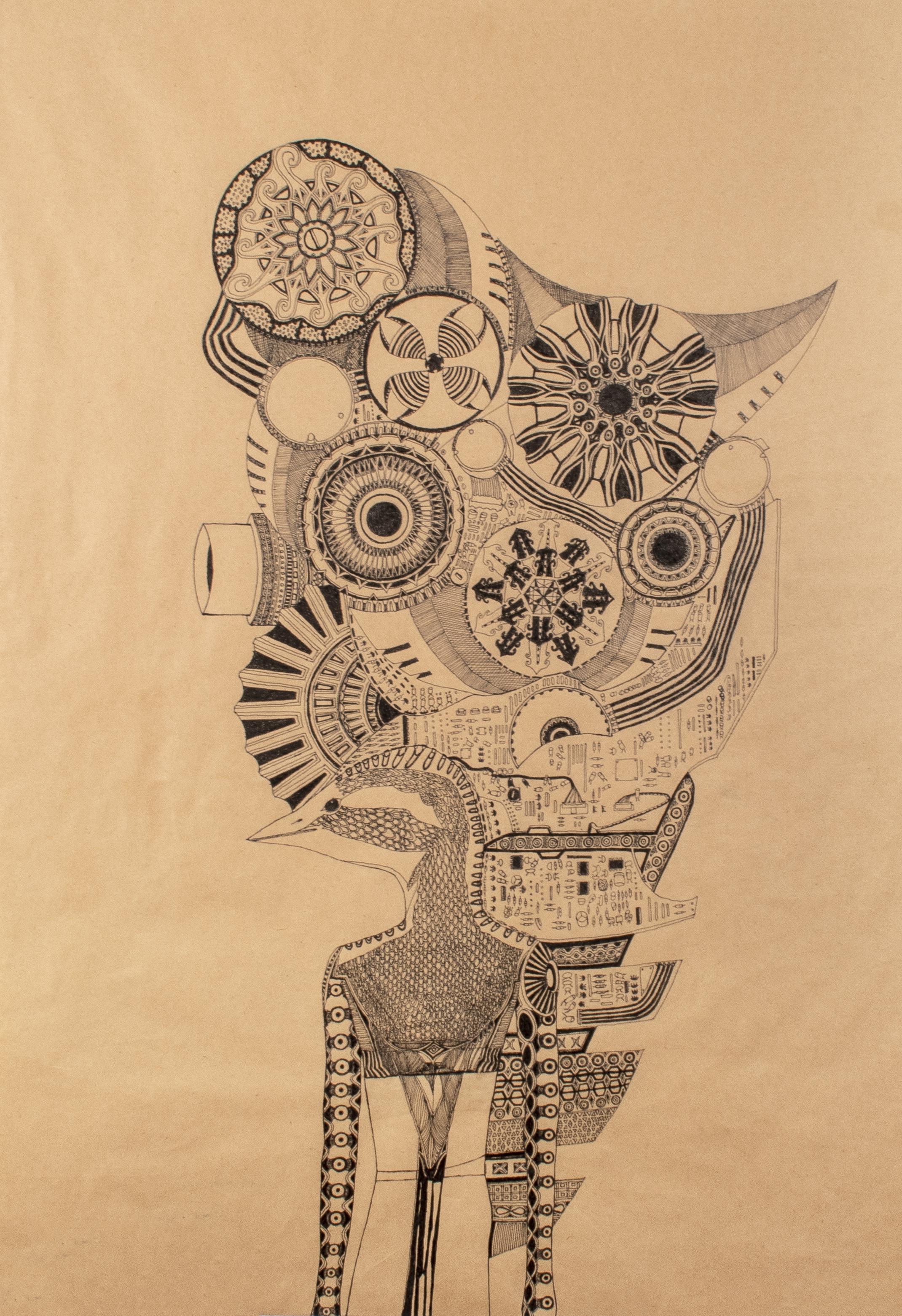 Untitled (63) Ink pen on Kraft paper, 51x73cm Photo by Ellie Walmsley