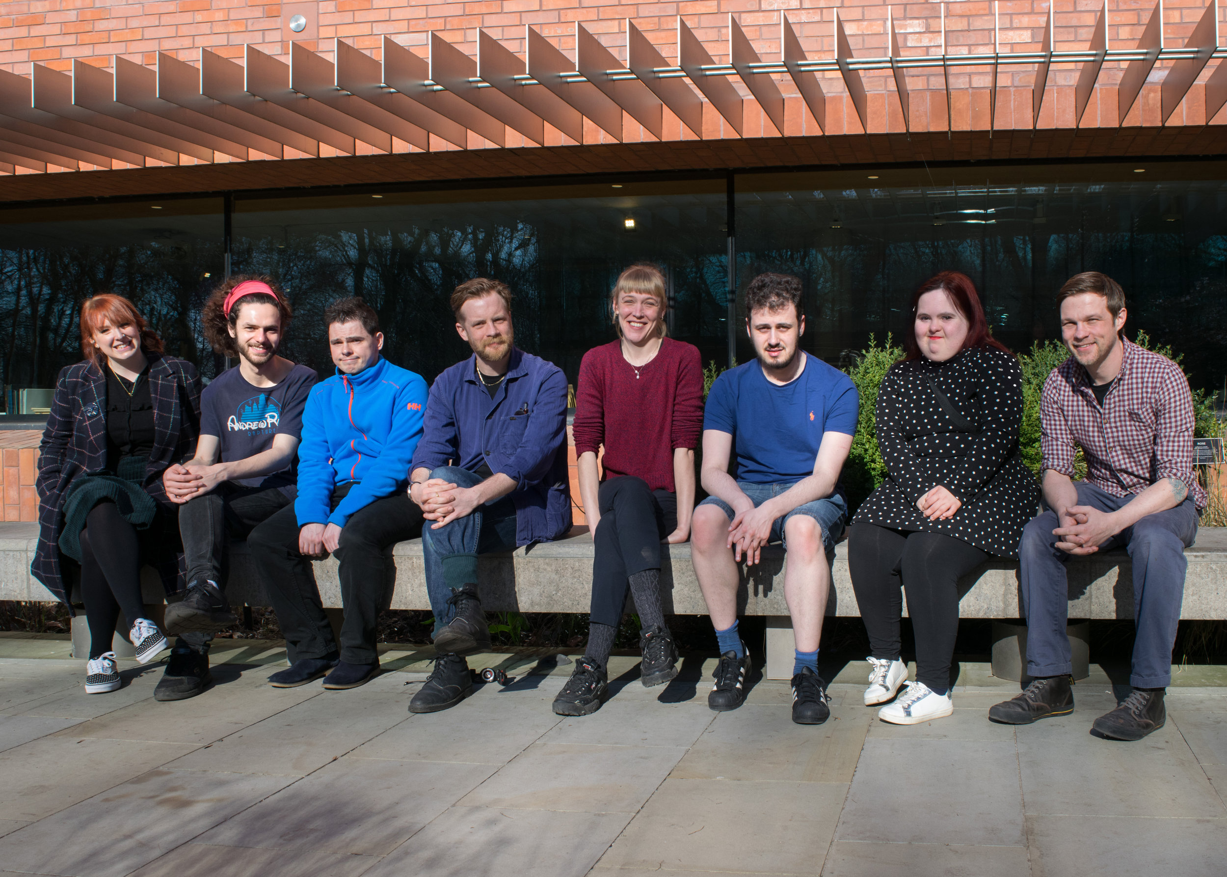 The six residency artists with myself on left, and facilitator James Pollitt on right. Photo: James John Lynch