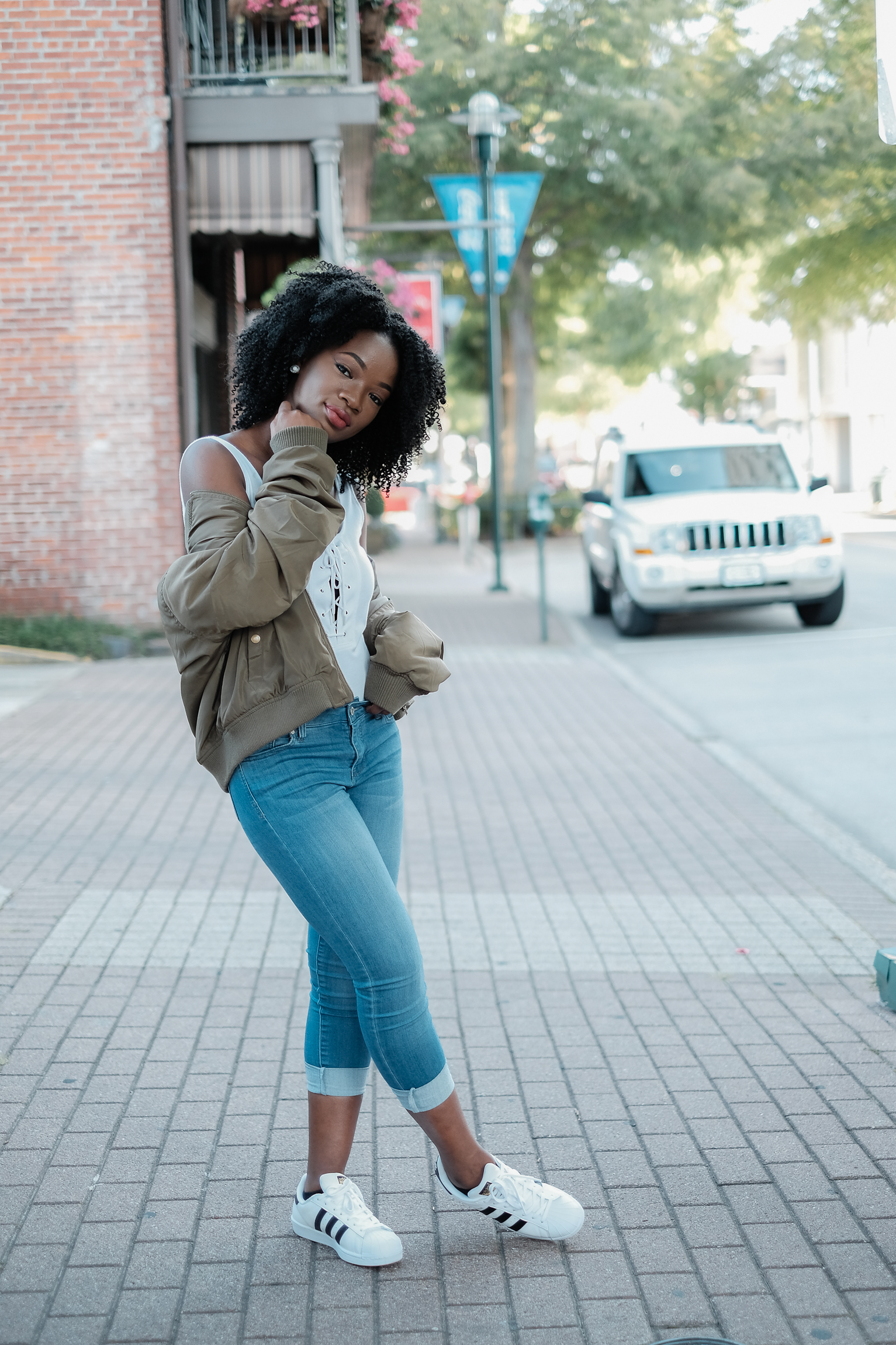 Outfit Details-    Jacket/Jeans/Top- RossDressForLess    Shoes- Adidas