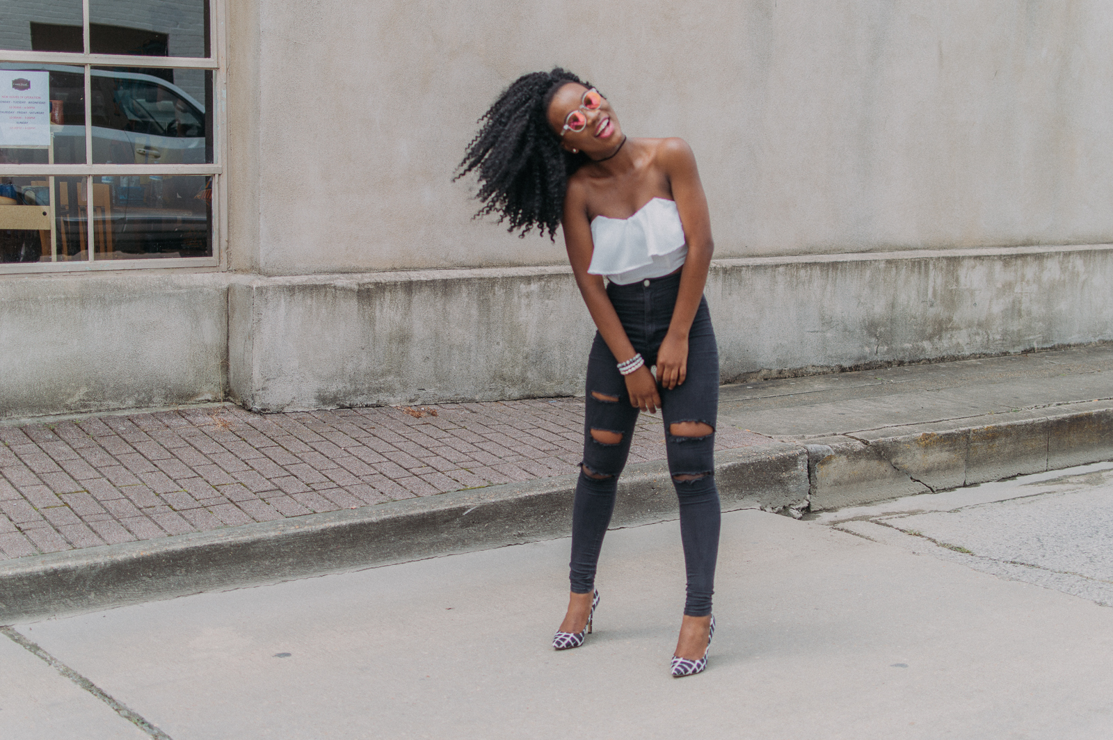 Jeans- FashionNova |Shoes- Thrifted | Top-Thrifted