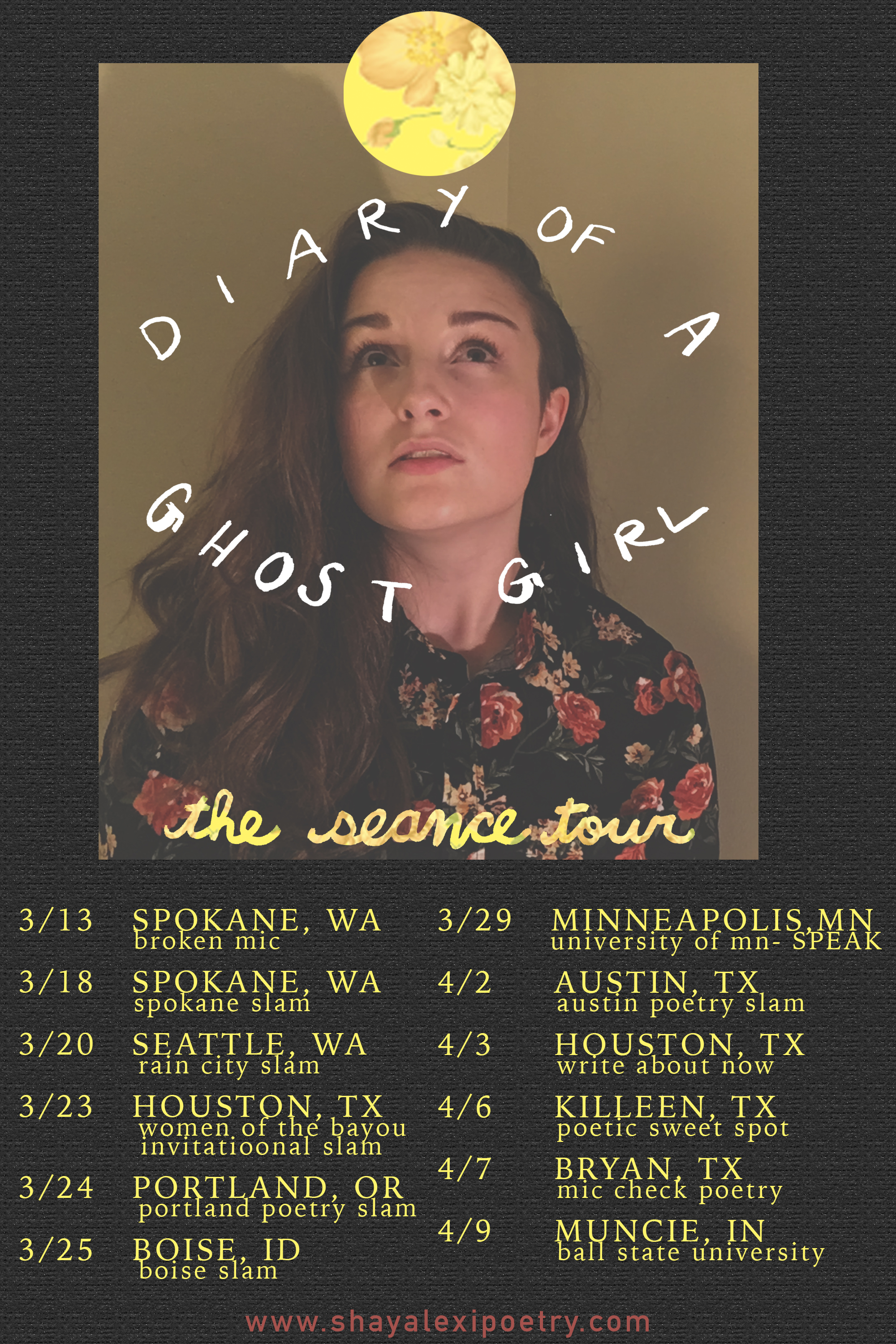 THE SEANCE TOUR - Check out Shay on their first leg of their book tour! Dates for April and May coming soon- including Michigan, Florida, NYC, Boston, Colorado, and more!