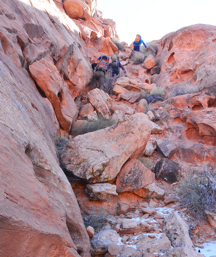 Climbing the approach gully