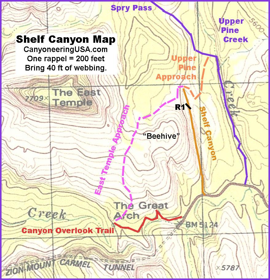 Shelf Canyon Map