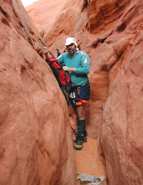 We get down in, follow it a way, then it slots up nicely. A bit of downclimbing leads to the last drop. (Death Canyon)