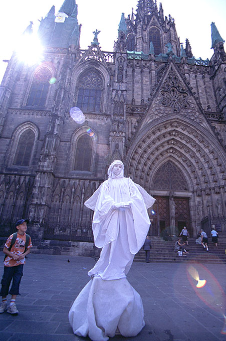 Gothic Catheral with Angelic street performers (Spain)