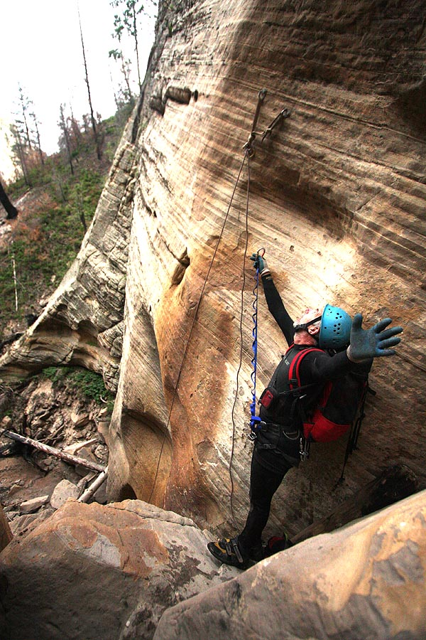 """Hard to reach, """"new"""" bolted anchor for the last rap. I think a rock fell out. (Zion)"""