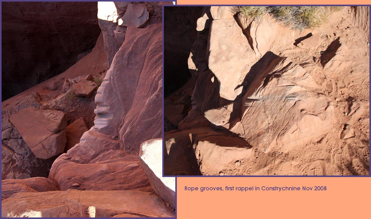 Ropegrooves over the edge, Constrychnine Canyon