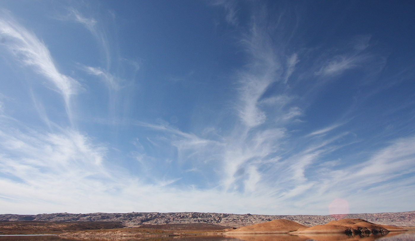 Shoreline, Waterpocket Fold, Clouds. (Poe Canyon)