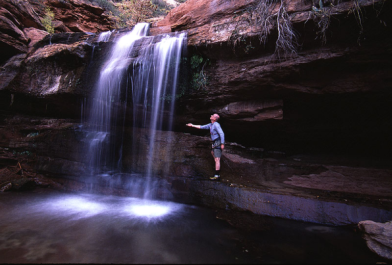 #2002014 Hiker and Waterfall, Right Fork (Zion)