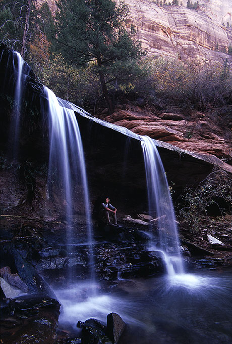 #2002015 Double Falls with person - my favorite of these (Zion)