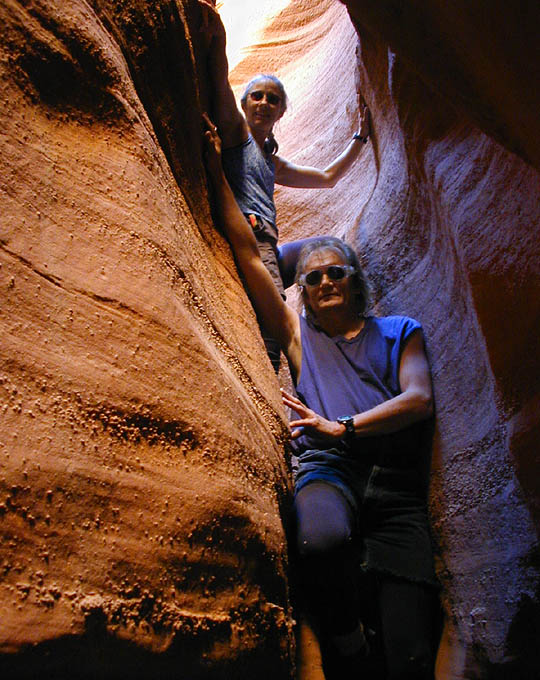 Dave Black and Debbie Davis hanging out in the twisty slot. (Leprechaun Canyon)