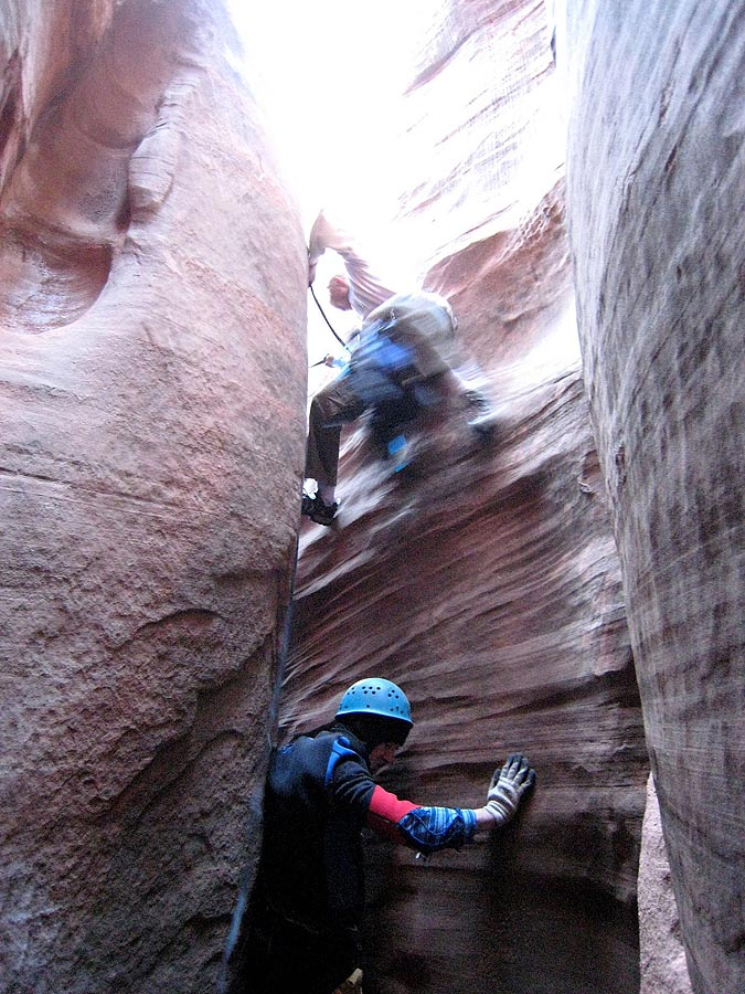 ...and dynos into the crack (with a sling from above). (Sandthrax)
