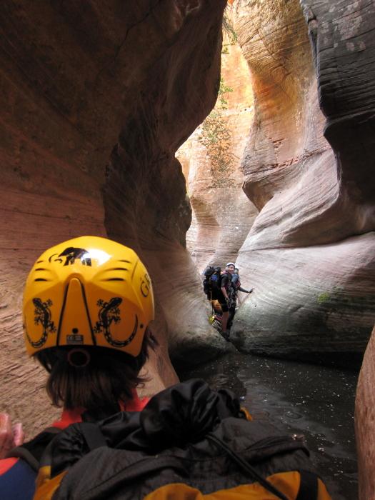 Steve, Patti, and Tina push further down canyon.