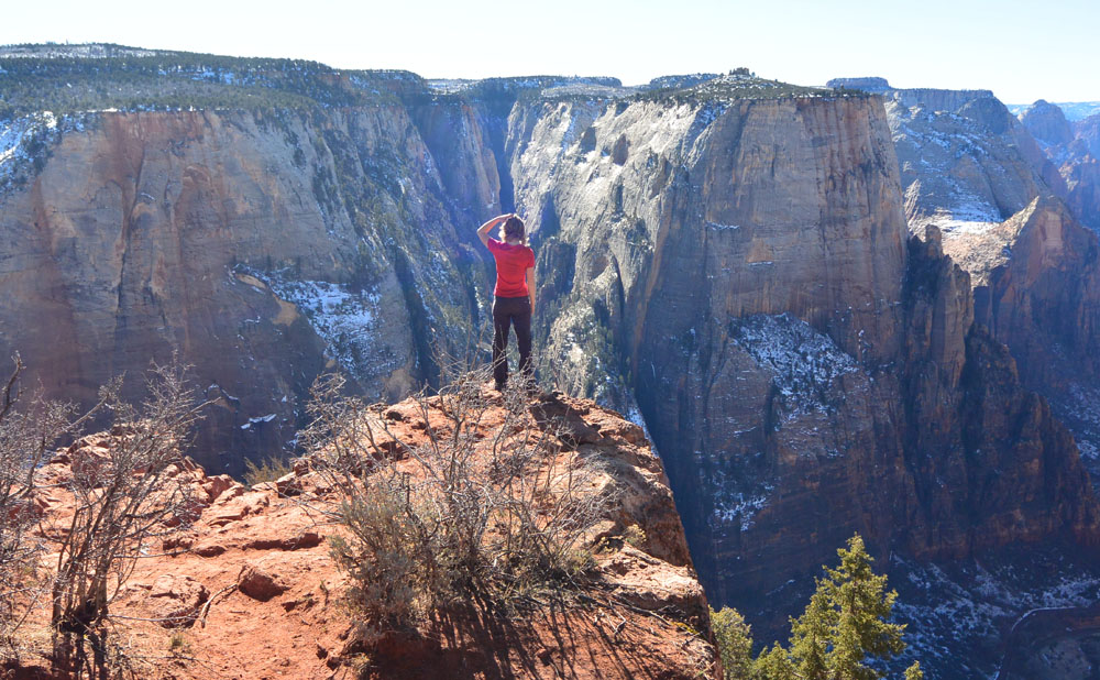 Beautiful views of Zion from way up here, with a touch of snow to make it even more scenic!