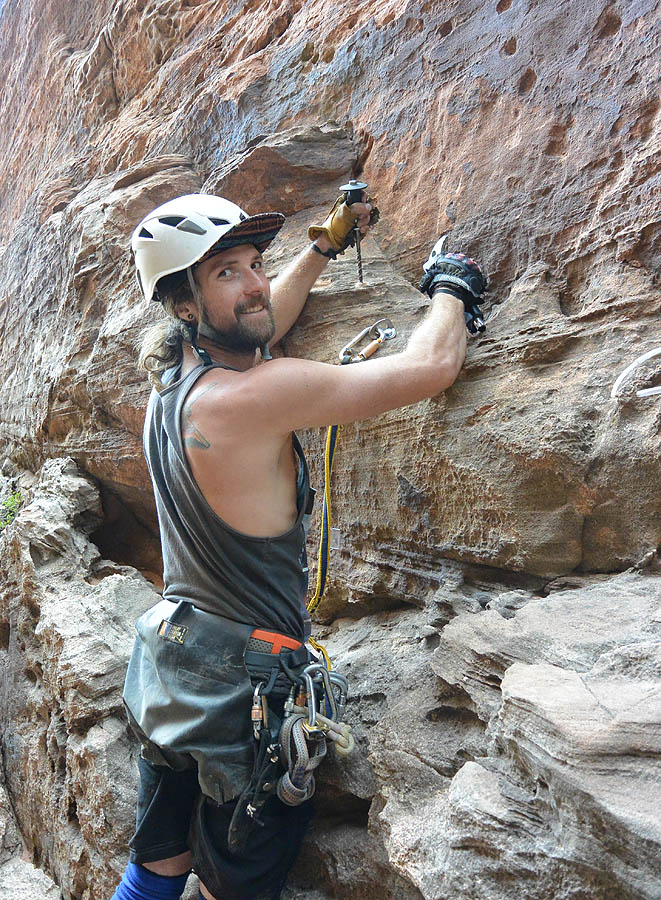 Drilling bolts for a new anchor, 2nd to last rappel