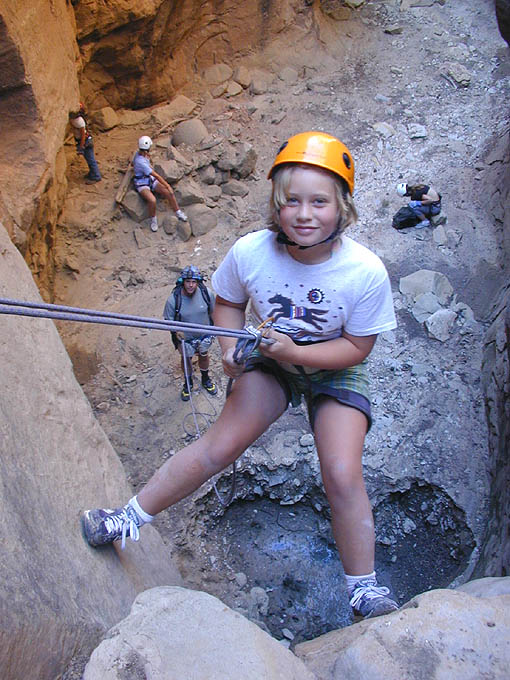 Start 'em young - This young canyoneer already has four technical canyons under her belt, of course with the guidance of experienced leaders.