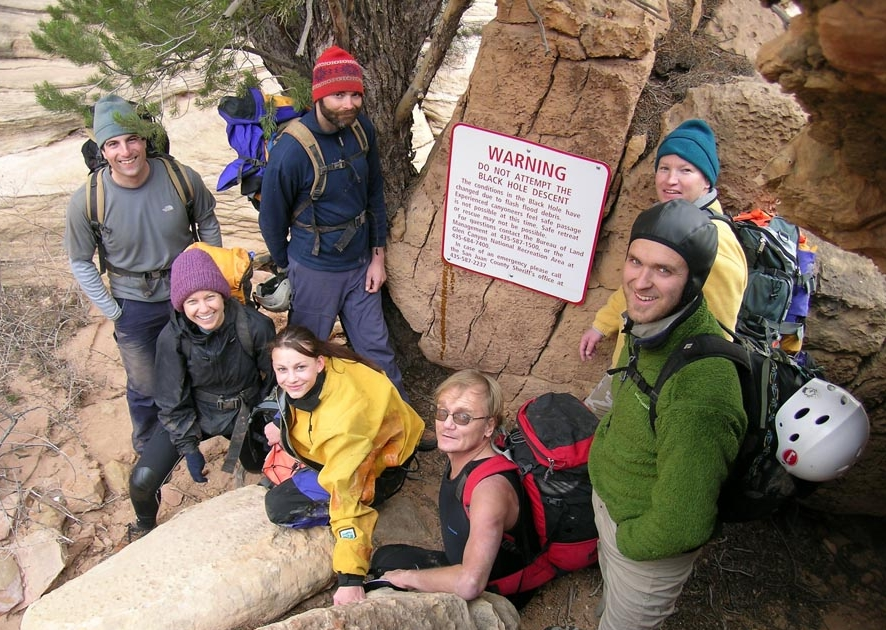 Ratings & Large Groups - Leading large groups of non-canyoneers into canyons is not usually a good idea. Especially in wet canyons, things can get out of control very quickly. It is not uncommon to see a large group of non-climbers being led by one novice climber in a technical canyon, like Zion's Pine Creek, making poor decisions and putting innocent people at risk. Don't do this. Practice rappelling in a safe and comforting environment, outside the confines of a canyon, and prepare by starting your group with short, simple canyons.Large groups are as slow as their slowest member, and then slower. Youth groups get in trouble all the time in Utah, often resulting in rescues and occasionally in deaths. Technical canyons are not good places for inexperienced youth groups. Find some other form of adventure. If your group is larger than six people, break into two groups to make the going faster and decrease your environmental impact.