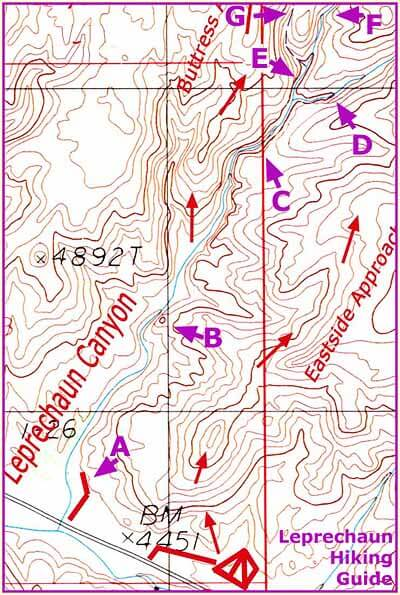 Leprechaun Landmarks - A - Sand Trap RoadB - Chess-Man PinnacleC - Subway SectionD - East Fork / Inscription ChamberE - Belfast BoulevardF - Main ForkG - West Fork