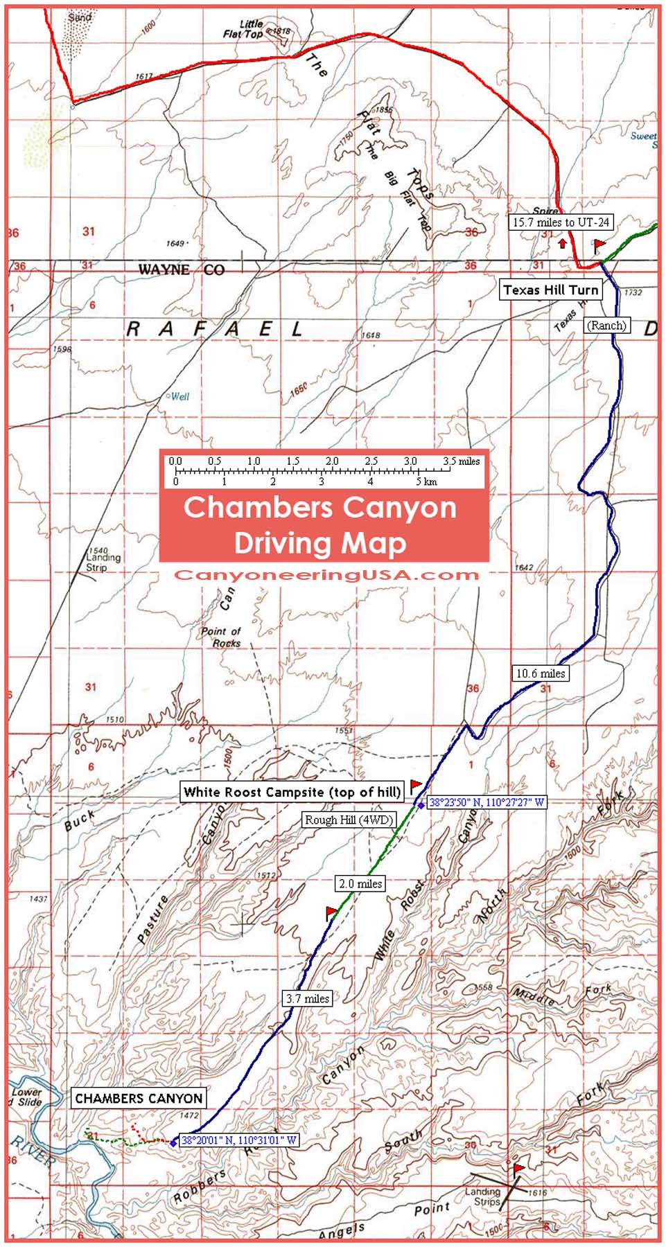 This Chambers Canyon area driving map will help you locate Big Bad Ben. Click on the image to view in higher resolution.