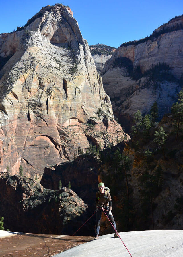 Everett Boutillet heading over the edge of Rap 1