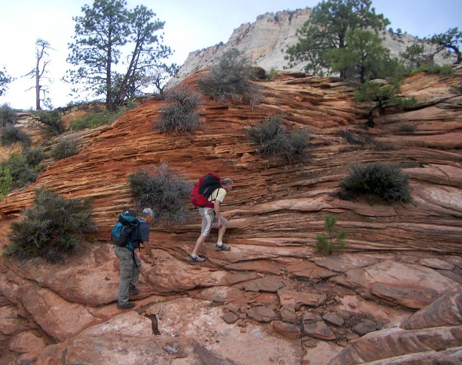 Bo Beck and Andy Archibald climbing towards the pass
