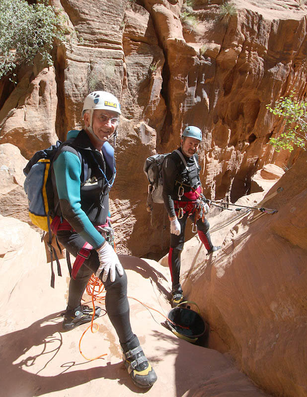 Jose and Alfons atop the two-flute rappel